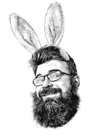 face of a man with glasses with a beard and lush hair cute smile with decorative soft Bunny ears in the form of a rim on the head, sketch vector graphics monochrome illustration on a white background