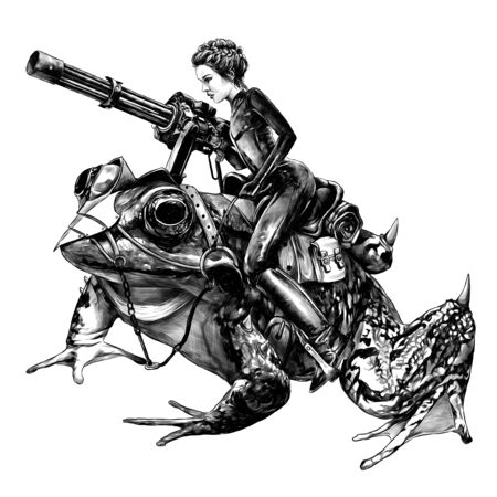 sexy girl in a tight suit and with a machine gun in her hands sitting on a saddled frog, sketch vector graphics monochrome illustration on a white background Banque d'images - 142171380