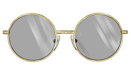 stylish glasses with round frames sketch vector graphics color illustration on a white background