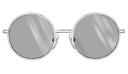 stylish glasses with round frames sketch vector graphics monochrome illustration on a white background Иллюстрация