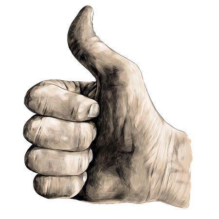 gesture class thumbs up, sketch vector graphics color illustration on white background Ilustração