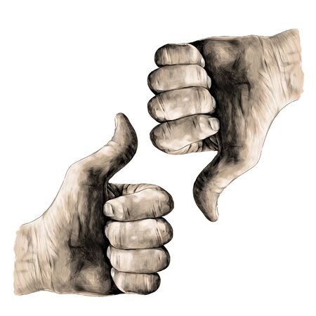 gesture class thumbs up and thumbs down, sketch vector graphics color illustration on white background