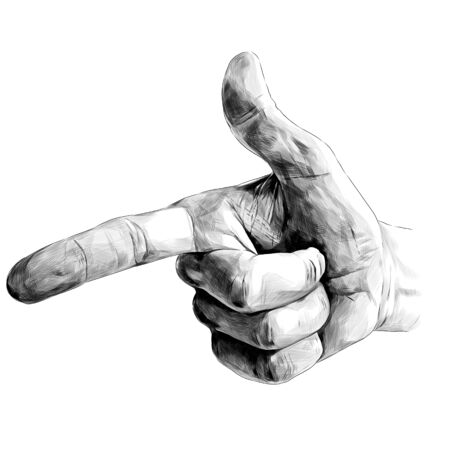hand gesture pointing at something extended index finger and thumbs up, sketch vector graphics monochrome illustration on a white background