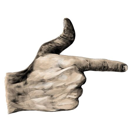 hand gesture with extended index finger and thumb up, sketch vector graphics color illustration on white background