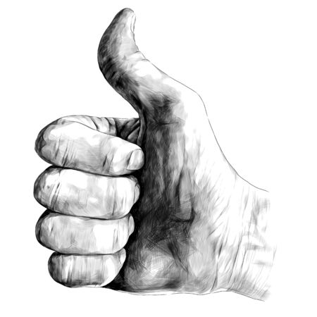 gesture class thumbs up, sketch vector graphics monochrome illustration on white background