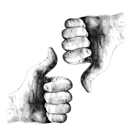 gesture class thumbs up and thumbs down, sketch vector graphics monochrome illustration on white background