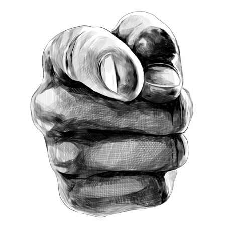 gesture pointing directly at you, sketch vector graphics monochrome illustration on a white background