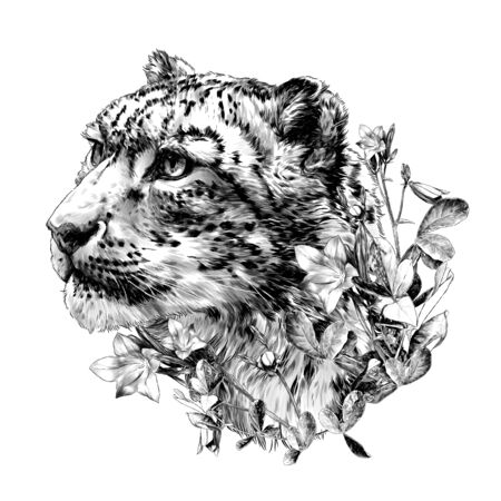 snow leopard animal head in profile close-up composition decorated with flowers and leaves of a bell, sketch vector graphics monochrome illustration on a white background
