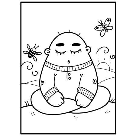 the card is monochrome in a minimalistic style drawn with lines with the image of a funny little man sitting on a watch on a hill and meditating