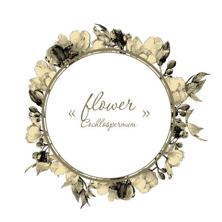 round frame decorated with branches of a flowering tree kohlospermum with flower buds and leaves, sketch vector graphics monochrome drawing in lines on a white background