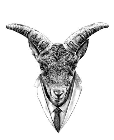 The head of the goat in front is symmetrical with a formal suit in tie and jacket