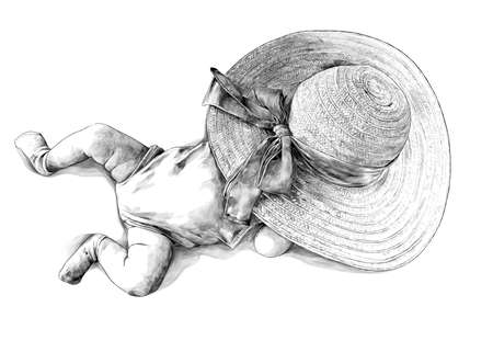 a small child girl is lying in a summer jumpsuit and socks and her face is covered with a hat with a bow, sketch vector graphics monochrome illustration on a white background Illustration