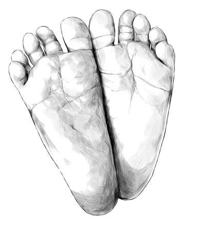 small children's feet foot forward, sketch vector graphics monochrome illustration on white background