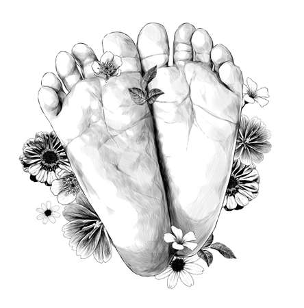small children's feet foot forward decorated with flowers and leaves very cute, sketch vector graphics monochrome illustration on white background Illustration