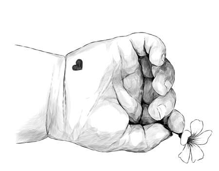 children's small hand with a heart holding a small flower, sketch vector graphics monochrome illustration on a white background Illustration
