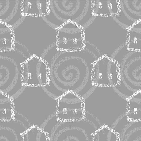 Seamless vector pattern with houses.