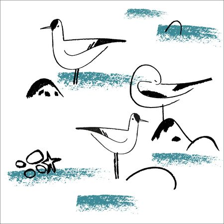 Seamless hand drawn pattern with birds. Vector Illustration