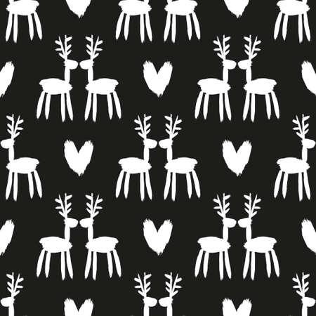 Seamless brush pattern with deer.  イラスト・ベクター素材