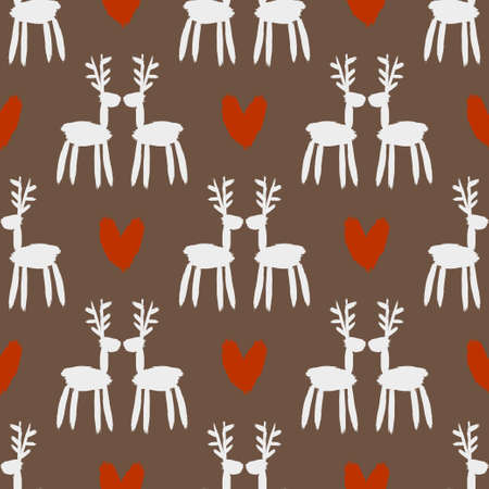 Seamless brush pattern with deer. Stock Illustratie