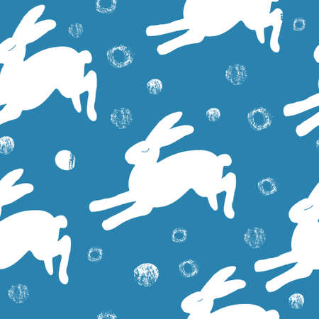 Seamless hand drawn pattern with rabbits. Stock Illustratie