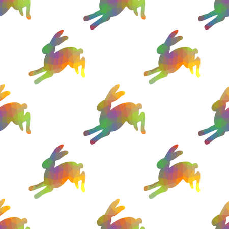 Seamless hand drawn pattern with rabbits.
