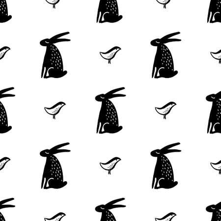 Seamless hand drawn pattern with rabbits. Ilustração