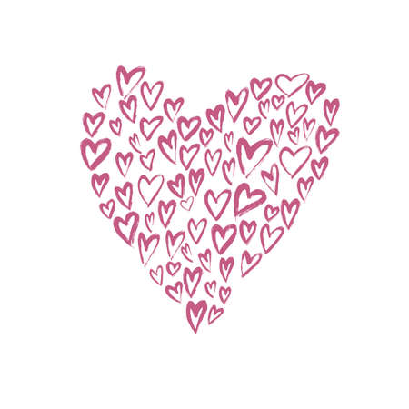 Brush painted vector heart.