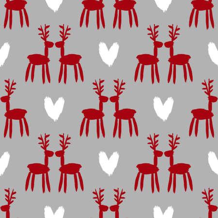 Seamless brush pattern with deer. Ilustração