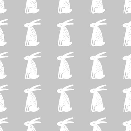 Seamless hand drawn pattern with rabbits. Vector background.