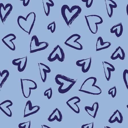 Hand drawn brush pattern with hearts.