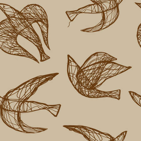 Seamless hand drawn pattern with birds.