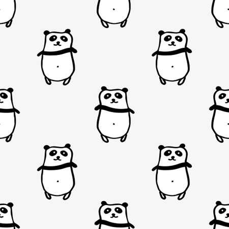 Seamless hand drawn pattern with pandas. Illustration