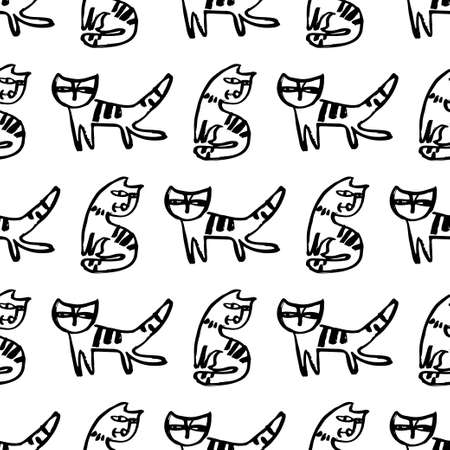 Seamless hand drawn pattern with cats. Illustration