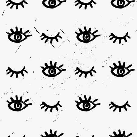 Seamless vector brush eye pattern. Illustration