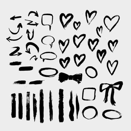 Brush painted vector set of hearts. Ilustracja