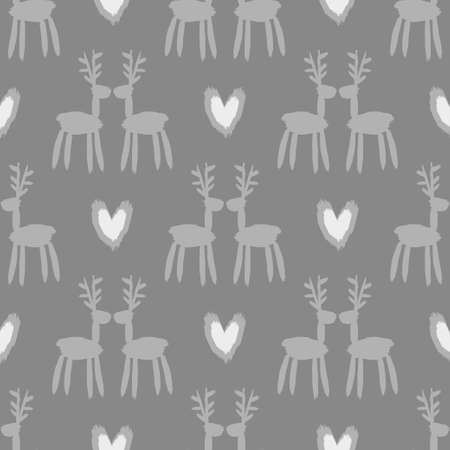 Seamless vector brush pattern with deers.