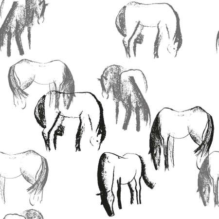 Seamless hand drawn pattern with horses.