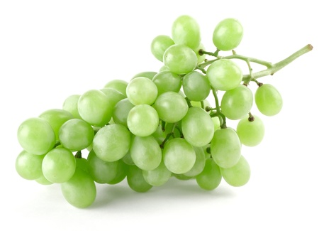 Branch of ripe green grapes isolated on white background photo