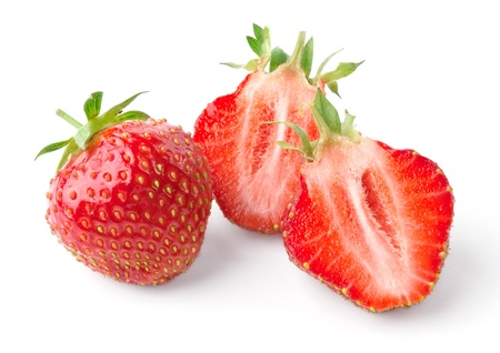 Whole strawberry and strawberry cut in half isolated on white background