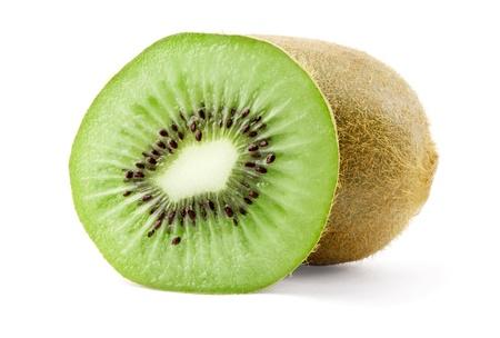 Ripe kiwi and slice isolated on white background