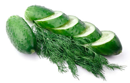 Sliced ??cucumber and dill isolated on white background photo
