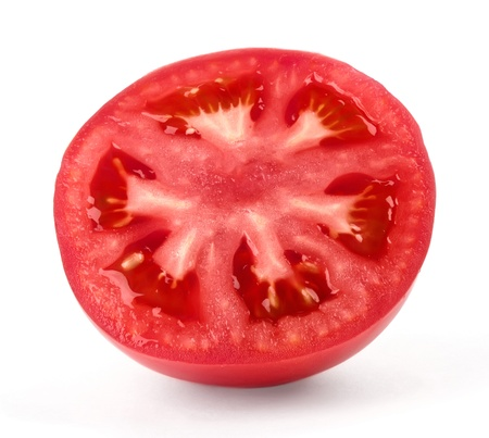 Slice of juicy red tomato isolated on white background photo