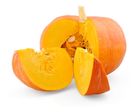 Fresh pumpkin and two slices isolated on white background Stock Photo