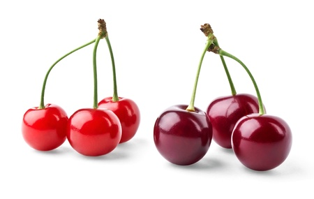 Red and vinous cherries isolated on white background