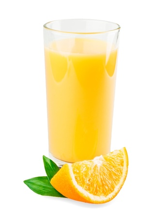 orange juice: Full glass of orange juice isolated on white background