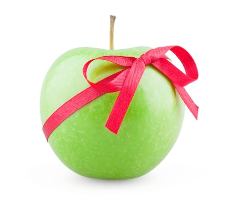 Apple with a bow on white background photo