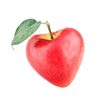 apple leaf: Apple heart on white background Stock Photo