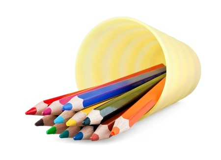 Inverted cup with pencils on white background Stock Photo