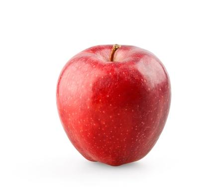 사과: 흰색 배경에 잘 익은 빨간 사과 스톡 사진