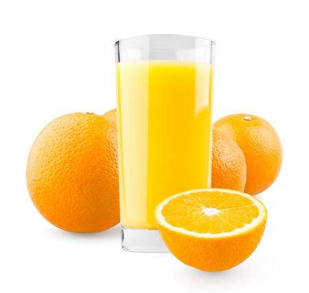 Orange juice on white background Stock Photo